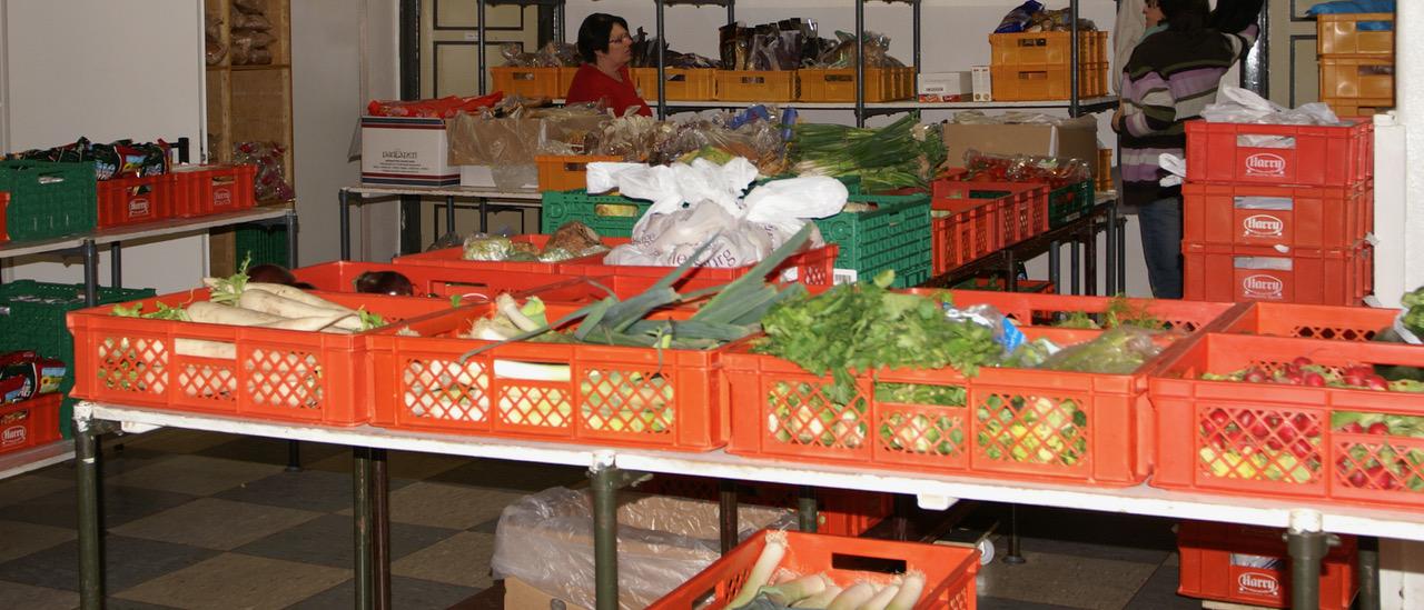 Gemüsekisten bei der Tafel in Flensburg