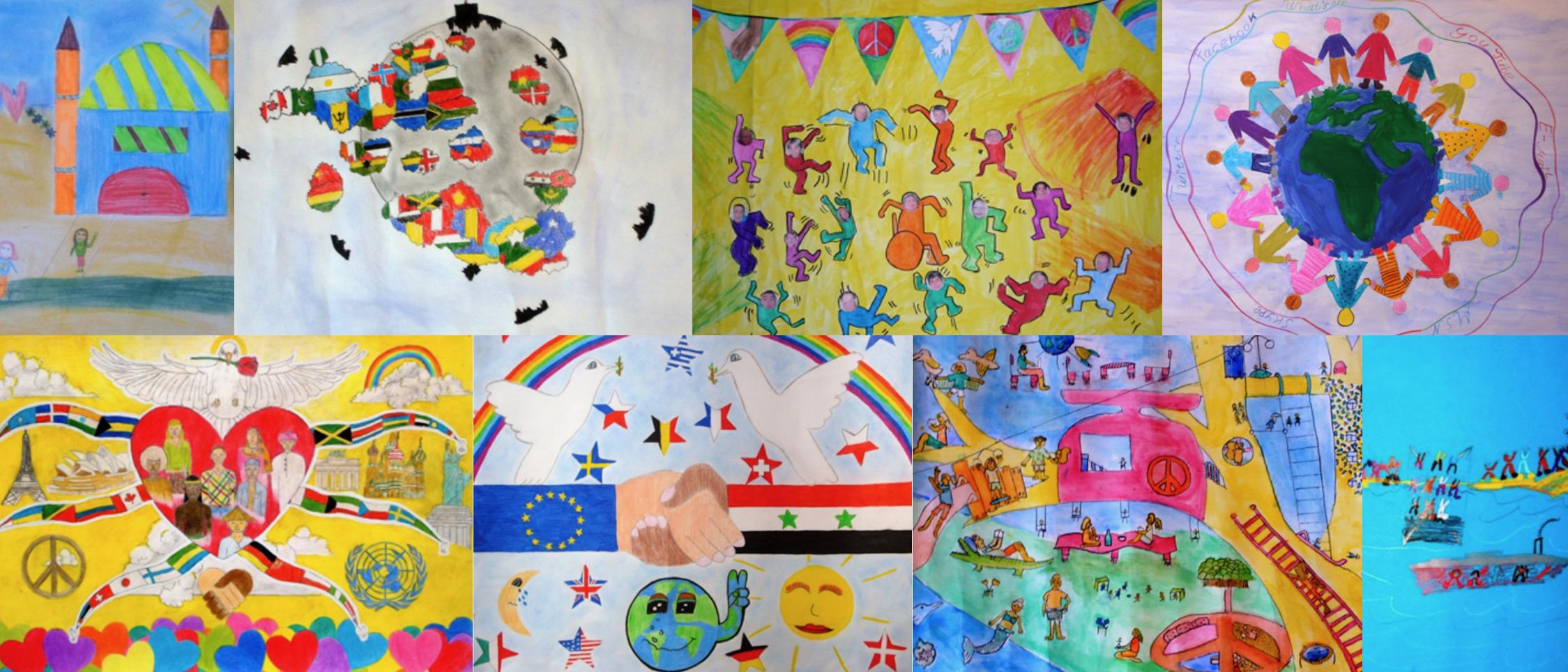 Eine Auswahl handgemalter Bilder, die beim Friedensplakat-Wettbewerb eingereicht wurden